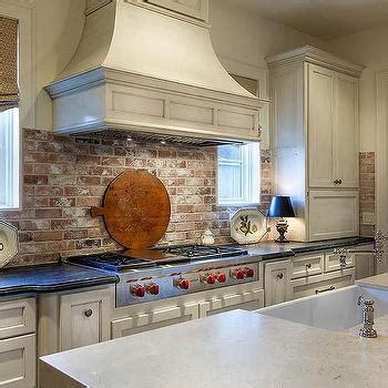 Kitchen with Red Brick Backsplash   Cottage   Kitchen