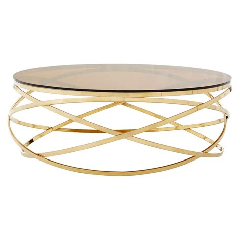 Modern nesting round coffee table set glass accent table in brass mid century minimalist design 2 piece set for living room 18 h x 36 l x 36 w elke round glass coffee table with brass base reviews crate and barrel. Eve Gold And Glass Round Coffee Table