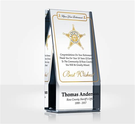 sheriff retirement plaques  quote samples diy awards