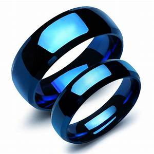 1 piece new arrival male female ring high polishing With blue wedding ring