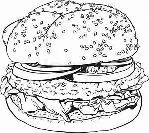 High Detailed Hand Drawn Illustration Of A Hamburger