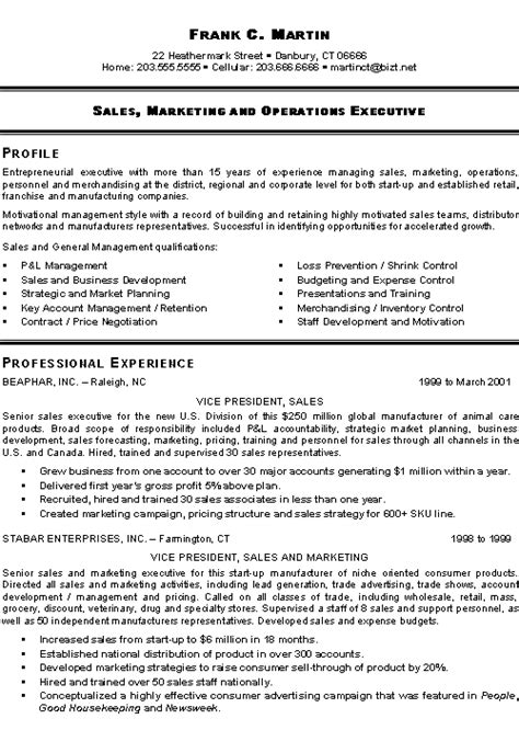 Sales Executive Resume by Marketing Sales Executive Resume Exle