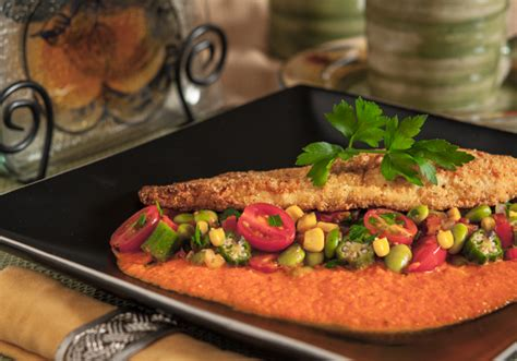 Stir together 1/3 cup yellow cornmeal and 1 tablespoon paprika in a shallow dish. Pan Fried Catfish with Edamame Succotash and Roasted Red ...