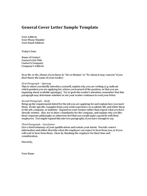 general cover letter template   templates