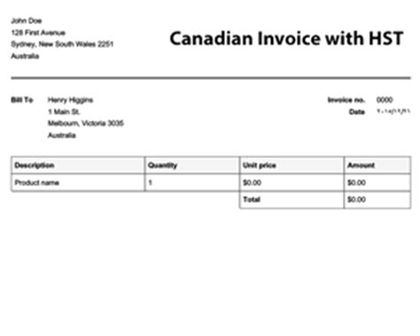 Commercial Invoice Template Canada Costumepartyrun