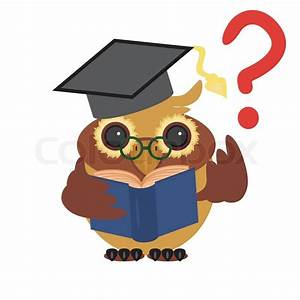 Nice owl and question Stock Vector Colourbox