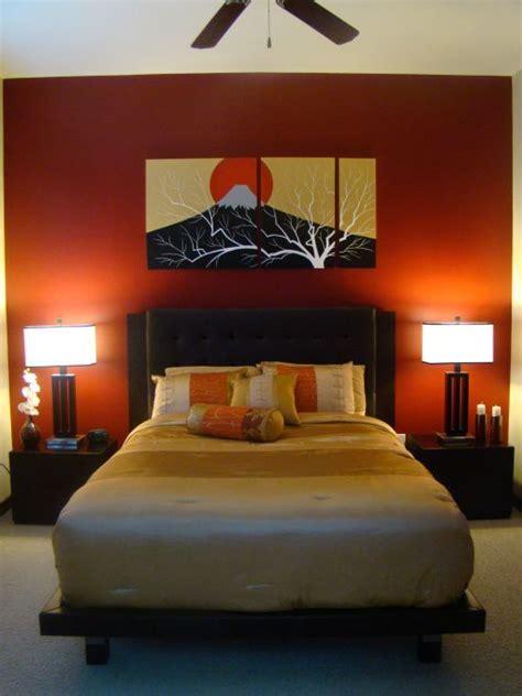white ceiling orange paint wall zen bedroom ideas