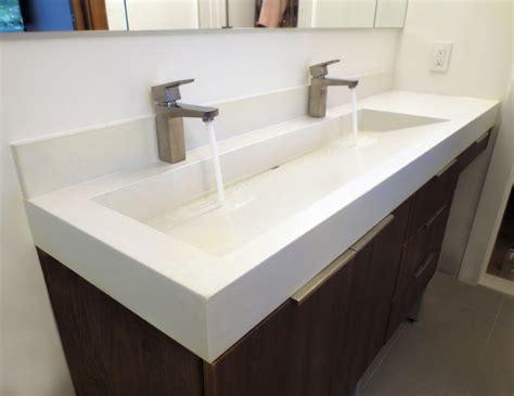 concrete trough sink 48 quot white linen custom concrete bathroom vanity sink
