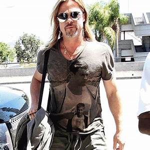 Challenger : Brad Pitt wearing a shirt of his stalker doing...