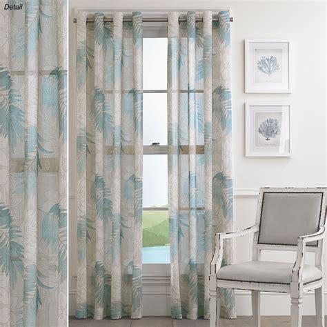 tamar steel blue sheer tropical grommet curtain panels