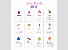 Calendar 2018 floral design Vector Free Download