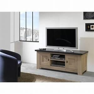 Meuble Tv En Chene Massif : meuble tv 2 portes whitney ~ Teatrodelosmanantiales.com Idées de Décoration