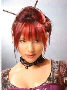 Black Hair with Bright Red Highlights