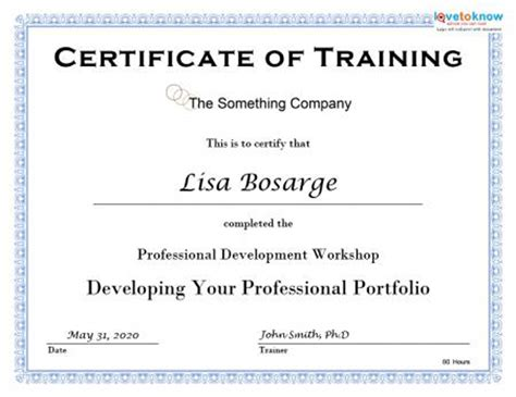 Traininb Certificate Template by Training Completion Certificate Template
