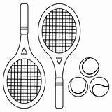 Tennis Coloring Balls Rackets Raquettes Pagina Racchette Colorante Palle Vettoriale Bianco Nero Coloration Vecteur Balles Noire Blanche Illustrazioni Illustrations sketch template