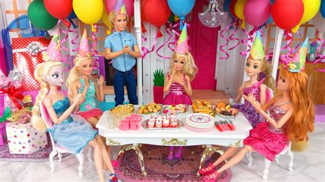 barbie doll birthday party rapunzel elsa ken pesta ulang tahun boneka barbie festa de