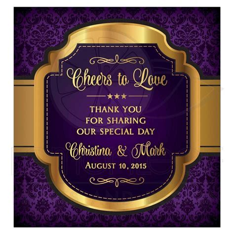 gift for 50th wedding anniversary wedding wine label purple gold cheers to