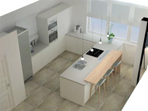 cocina blanca  barra de madera home office