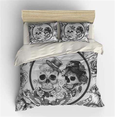 housse de couette skull cr 226 ne de literie jour de la mort couette douillette ensemble de couverture noir blanc
