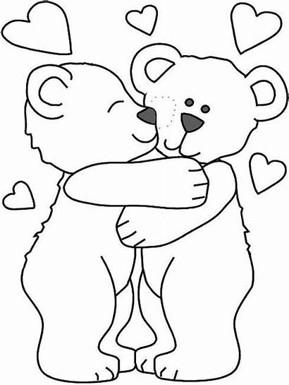 Coloring Hugs Bear Hug Pages Kisses Printable