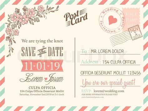 vintage postcard background vector template  wedding