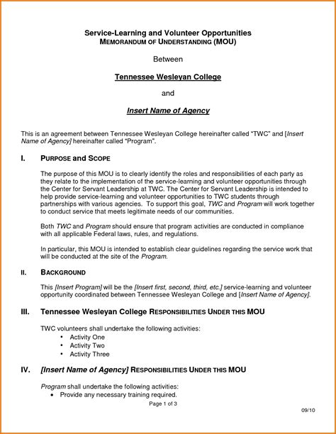 Template For A Memorandum Of Understanding by Memorandum Of Understanding Templatereference Letters