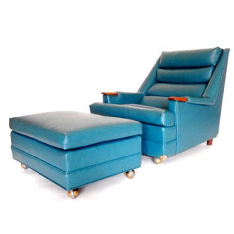mid century chair and ottoman teal blue from stonesoupology on