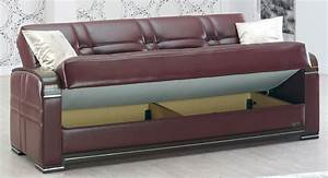 Manhattan burgundy leather sofa bed by empire furniture usa for Leather sofa bed
