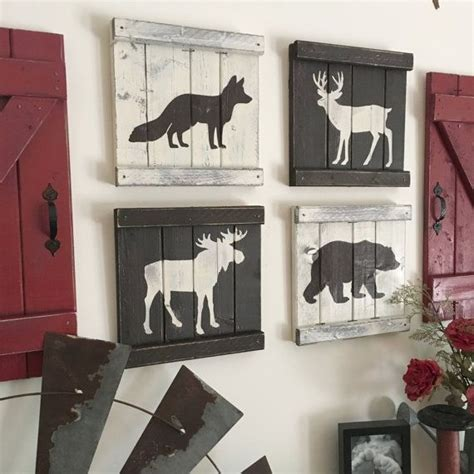 This Set Of 4 Rustic Woodland Animal Paintings Is The