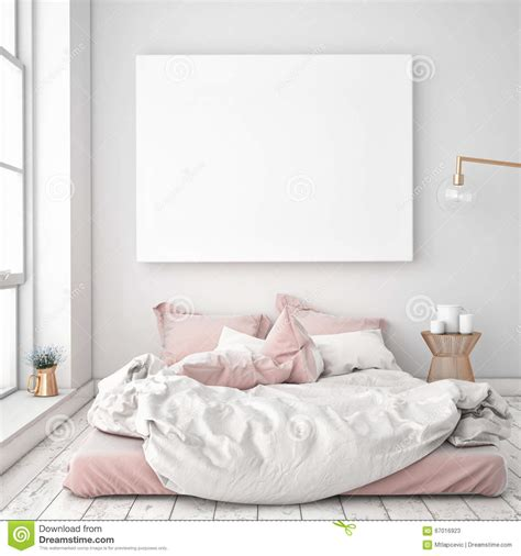 mock  blank poster   wall  bedroom stock