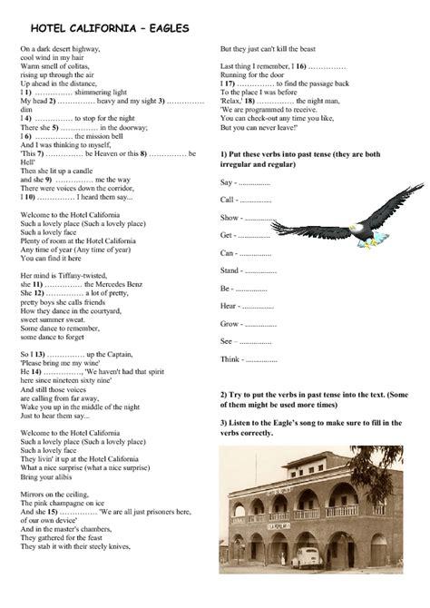 song worksheet hotel california  eagles