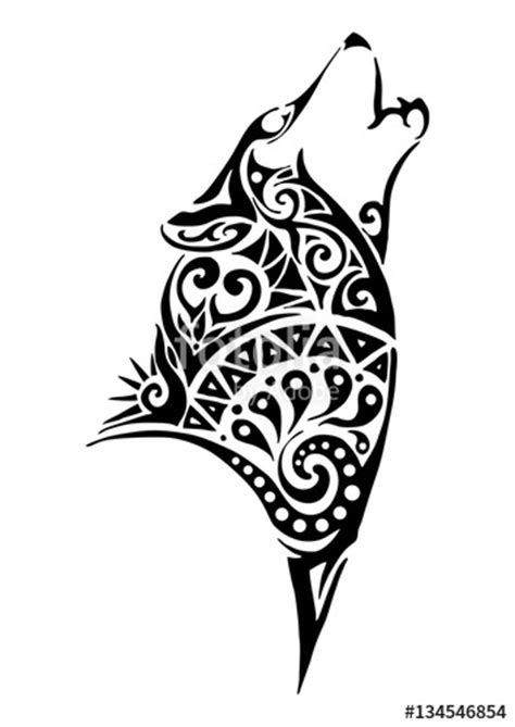 silhouette wolf whine head tribal tattoo design  arm  leg vector stock image  royalty