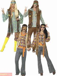 Adults 60s 70s Hippie Costume Mens Ladies Hippy Fancy ...