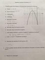 Precalculus 21 quadratic functions homework answers