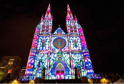 Christmas Lights Cathedral St Sydney Marys Mary