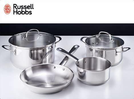 pots russell hobbs  piece cookware set stainless steel