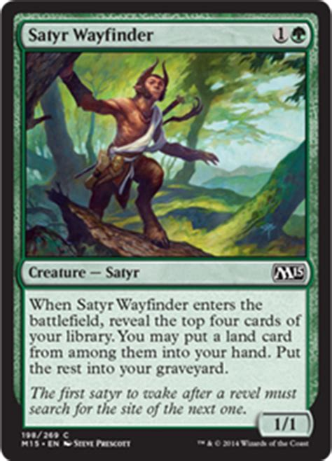 Mtg Enchantment Deck 2015 by Satyr Wayfinder Magic 2015 Set Gatherer Magic