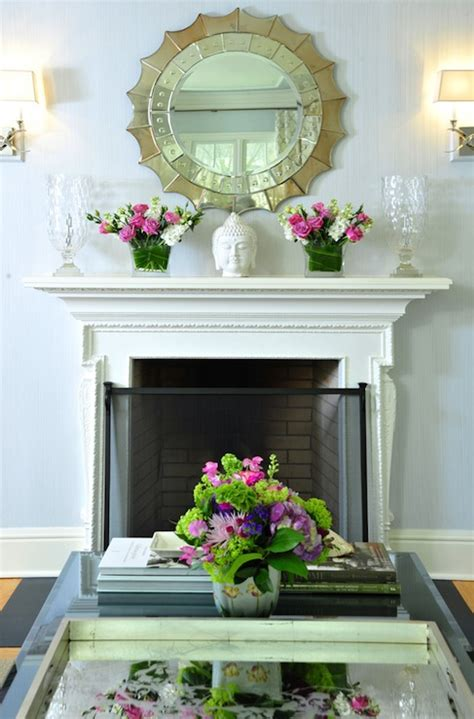 mirror  fireplace contemporary living room muse