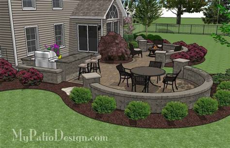 Large Patio Designs by Large Paver Patio Design With Grill Station Seat Walls