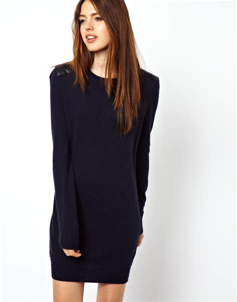 navy sweater dress asos sweater dress with leather look shoulders in blue