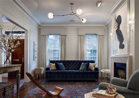 bay window cornice tufted velvet sofa contemporary living room