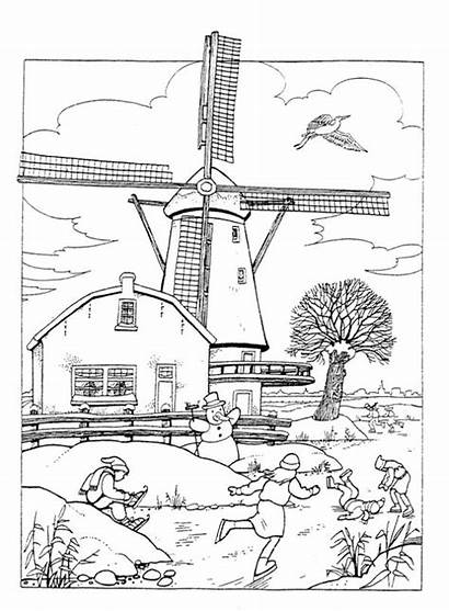 Coloring Windmills Windmill Holland Pages Adult Printable