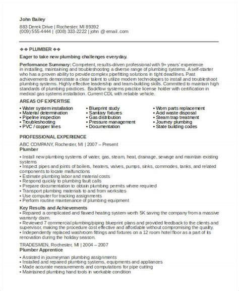 sample plumber resume templates