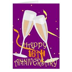 7th wedding anniversary gifts 16th wedding anniversary chagne celebration greeting card zazzle