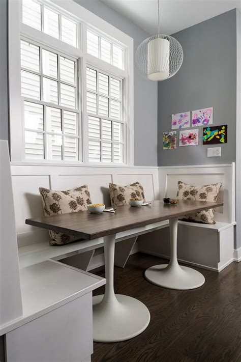 transitional gray breakfast nook  banquette seating hgtv