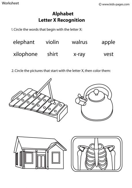 words that start with the letter x letter x recognition worksheet 32281