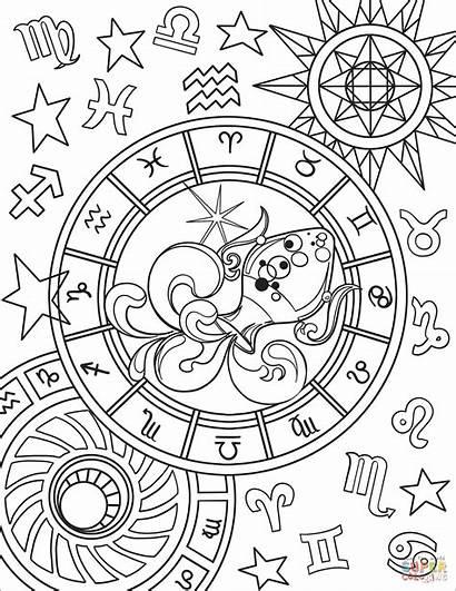 Coloring Zodiac Pages Sign Aquarius Printable Games