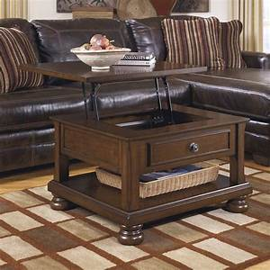 Ashley furniture porter lift top cocktail table in rustic for Rustic dark brown coffee table