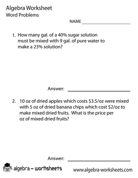 algebra word problems solver worksheet algebra
