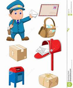 Cartoon Mail Carrier With Bag And Letter Stock Vector ...